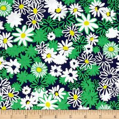 Bahama Breeze Daisy Splash Navy from @fabricdotcom  Designed by Maria Kalinowski of Kanvas for Benartex Fabrics, this cotton print is perfect for quilting, apparel and home decor accents. Colors include green, yellow, navy and white.