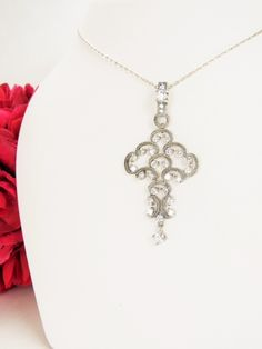 Vintage sterling silver cross with crystals