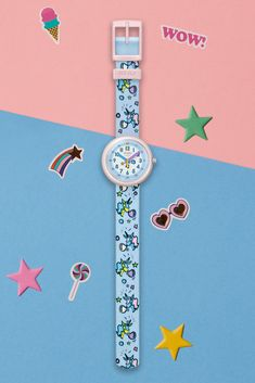 BUBBLICORN (ZFPNP030) offers irresistible colour and happiness, with its whimsical bubblegum design. A unicorn wrist watch that helps kids learn to tell the time by embracing fun, this quirky accessory is one of the standouts of our collection, and a great gift idea for kids. It has a transparent plastic case, and its baby blue textile strap is adorned with a perfect palette of pastel colours. Pastel Colours, Telling Time, Plastic Case, Kids Learning, Baby Blue, Swatch, Whimsical, Unicorn, Great Gifts