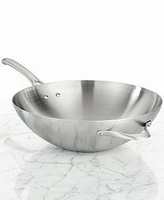 Calphalon Contemporary Stainless Steel Flat Bottom Wok - Cookware - Kitchen - Macy's