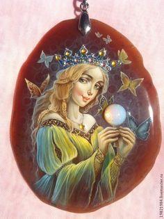 Купить Свет Души(комплект) - бордовый, лаковая миниатюра, живопись маслом, роспись по камню