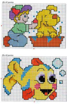 Gráficos Ponto Cruz e Artesanato: Toalhinha infantil