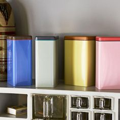 Brighten up your kitchen with these colour clashing stainless steel tins designed by George Sowden for Hay. The Sowden Tin has an airtight lid that is suitable for coffee and other dry foods.
