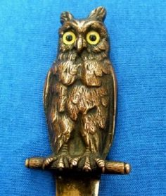 Beautiful-Art-Nouveau-Bronze-Owl-Letter-Opener-Incredible-Realistic-Detail
