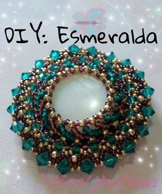 DIY Tutorial : Medaglione Esmeralda | raw ✿◕ ‿ ◕✿. Cabachon, Bicone and seed beads