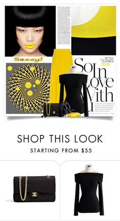 """Black & Yellow"" by barbarapoole ❤ liked on Polyvore featuring TIBI, Chanel, Chicwish and Melissa Joy Manning"