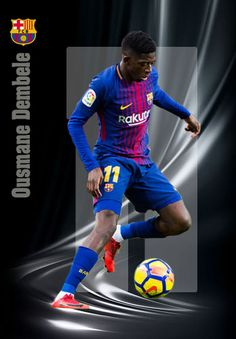 Ousmane Dembele of Barcelona in Football Art, Football Players, Fc Barcelona, Soccer Cards, Baseball Cards, International Soccer, Star Wars, Club, Lionel Messi