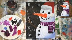 You CAN paint this! Learn how to acrylic paint a snowman at night on a Payne's gray (or black) painted canvas. You CAN paint this! Learn how to acrylic paint a snowman at night on a Payne's gray (or black) painted canvas. Painting For Kids, Diy Painting, Art For Kids, Christmas Paintings On Canvas, Kids Paintings On Canvas, Painting On Black Canvas, Snowmen Paintings, Christmas Art, Christmas Decorations