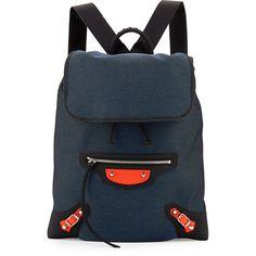 Balenciaga Classic Traveler Lambskin Backpack featuring polyvore, fashion, bags, backpacks, black bag, zipper bag, zip bags, travel bag and black top handle bag