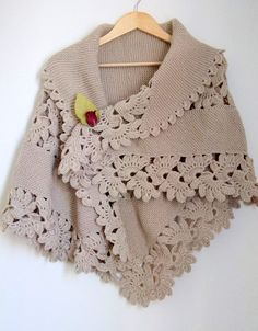 Triangle Shawl-Brown Shawl Beige Shawl by myknittingworld on Etsy