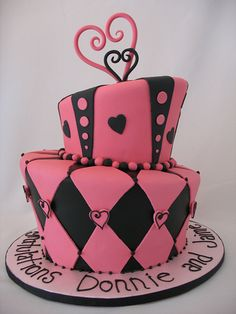 Pink and black hearts cake