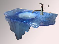 Waterfall glass sink with unique design by CBD Glass Bathroom Sink Design, Bathroom Sinks, Bathroom Ideas, His And Hers Sinks, Glass Fusing Projects, Glass Sink, Home Furnishing Stores, Crackle Glass, Fused Glass Art