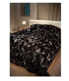Silver Fox Fur blanket Throw  100% Real natural fur premium luxury90 x90 intch   #Handmade #HollywoodRegency