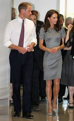 William and Kate.... love this gray dress with collar and short sleeves