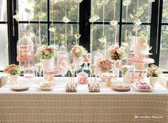 the dessert table for this glamour baptism