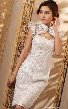 Chinese Bridal Illusion Jeweled Qipao Ball Cheongsam White