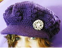 Crochet puff stitch newsboy cap