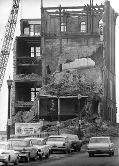 A 1967 photo showing final demolition of the old Grand Rapids Brewing Co./Fox Deluxe Brewery building on Michigan Street between Ottawa and Ionia Aves. The state of Michigan purchased the urban renewal site for $161,000. The state office building stands here today. (Grand Rapids Press file photo).