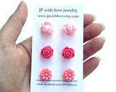 flower stud earrings, earrings, pink
