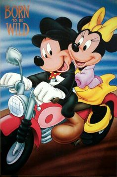 Mickey Mouse & Minnie Mouse Born to be wild Mickey And Minnie Love, Mickey Mouse Wallpaper, Mickey Mouse Cartoon, Mickey Mouse And Friends, Disney Wallpaper, Disney Mickey Mouse, Retro Disney, Cute Disney, Walt Disney