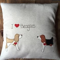 Beagle pillow, Beagle lover gift, dog lover gift, I love Beagles cushion cover appliquéd and embroidered cushion by Ren Ellery