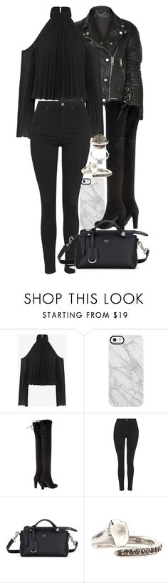 """""""Untitled #11002"""" by minimalmanhattan ❤ liked on Polyvore featuring Burberry, Exclusive for Intermix, Uncommon, Stuart Weitzman, Topshop, Fendi, Rosa Maria, women's clothing, women's fashion and women"""