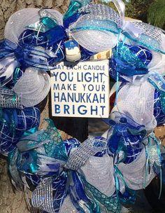 Hanukkah wreath Hanukkah decor Holiday by WitchesLairWreaths Hanukkah Crafts, Hanukkah Decorations, Hannukah, Happy Hanukkah, Festival Decorations, Holiday Wreaths, Holiday Crafts, Holiday Decorating, Decorating Ideas
