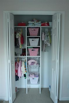 View Along the Way - Baby girl nursery: turquoise and pink closet storage