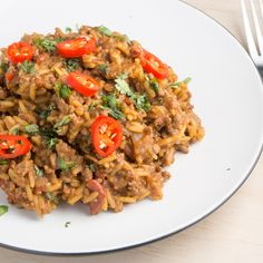 Spicy beef and rice - a great one pot dinner that is ready in just over half an hour and is low in calorie.