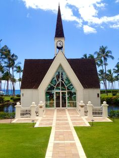 "being ""Mauied"" ..Grand Wailea wedding Chapel.  Hawaiian Stained glass interior."