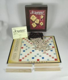 Scrabble Board Game Book Shelf Wooden Vintage Collection Box Storage Tray  #ParkerBrothers