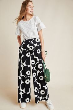 Marimekko Floral Wide-Leg Trousers by in Black Size: S, Women's Pants at Anthropologie Floral Wide Leg Trousers, Wide Pants, Floral Pants, Women's Pants, Trouser Outfits, African Textiles, New Wardrobe, Winter Wardrobe, Marimekko