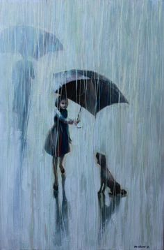 Umbrella for two. 2011 Oil painting printed on canvas by / I Mudrov @Theresa Burger Goodrich this made me think of you!