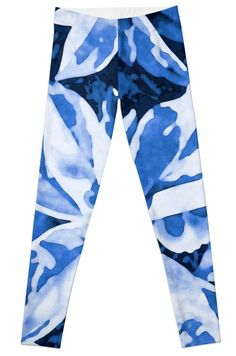 Aloha Blue Leggings by PolkaDotStudio, watercolor #blue #Hawaiian #tropical #leaves in a #boho style #art on #trendy #fashion #apparel #pants for #her. Perfect for #activewear, #yoga, #pilates, #leisurewear or a special social event. Great for #travel or #school.