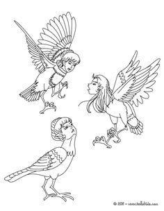 kleurplaat harpies the winged spirits coloring page