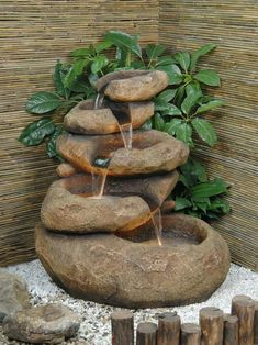 Five realistic looking boulders in poly-resin with a sandstone finish and cascading water. All the looks of a traditional water feature with the durability and portability that high quality poly-resin construction Small Indoor Water Fountains, Homemade Water Fountains, Bamboo Water Fountain, Water Fountain Design, Garden Water Fountains, Fountain Ideas, Waterfall Fountain, Water Garden, Patio Fountain