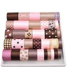 High quality 34 Yard Mix Brown & Pink Ribbon Set For Diy Handmade Gift Craft Packing Hair Accessories Wedding Materials Package Quantity: 34 pieces/bag Length: 1 yard/piece Brand Name: None Product Type: Ribbons Fabric Type: Grosgrain Material: Rayon/Cotton Technics: Embroidered Feature:... see more details at https://bestselleroutlets.com/arts-crafts-sewing/gift-wrapping-supplies/product-review-for-high-quality-34-yard-mix-brown-pink-ribbon-set-for-diy-handmade-gift-craf