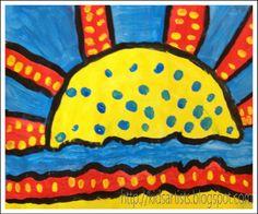 Sunrise in the style of Roy Lichtenstein -Kids Artists: grade 4
