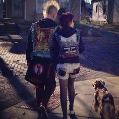 Punk love, suck my left one, mohawks, bikini kill, punk couple, holding hands, dog