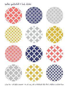 quatrefoil 2 inch circles printable collage sheet, coral pink mustard yellow navy blue gray, jpg file