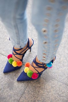 #summer #trending #womens #shoes | Pom Pom Lace Up Heels