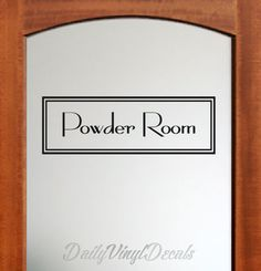 Powder Room Decal - Vintage Style Rectangle Powder Room Wall Decal - Vinyl Lettering Letters Text Window Door Powder Room Vinyl Decal etc.