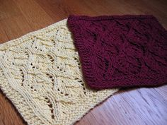 "Another pretty ""Washcloth"" pattern...too pretty to do dishes with...Kelley's Yarns: Elvish Leaves Dishcloth"