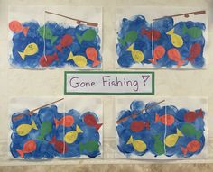 Gone fishing! Young toddler children sponge painted a blue background and glued on pre-cut fish to their picture.