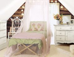 attic bedroom with netting canopy