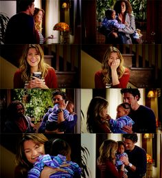 """Derek: """"Don't start eating that pizza without me... Meredith?""""  Meredith: """"Derek?""""  Derek: """"Yes?""""  Meredith: """"Is that our baby?""""  Derek: """"Yes. Yes it is!""""  Janet: """"She's yours."""""""