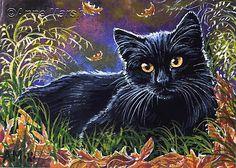 ACEO Black Cat Autumn Gold Original Fantasy Watercolour Painting Anne Marsh Art  