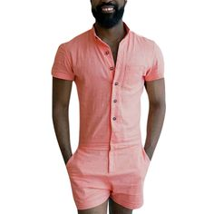 b64e7455a37 Like and Share if you want this Single Breasted Short Cargo Summer Men  Rompers Tag a