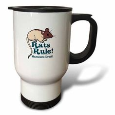 3dRose Rats Rule, Travel Mug, 14oz, Stainless Steel