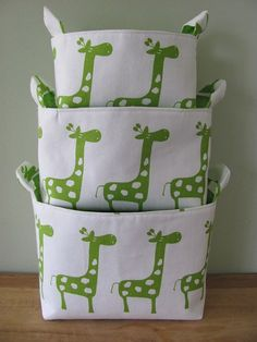 Fabric Organizer Basket Storage Container. #nursery #jungletheme #kidsrooms #organizer #storage